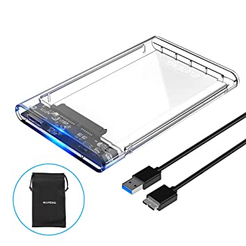 ELUTENG Disco Duro Caja USB 3.0 2.5 Inch HDD/SSD Case Transparente 5Gbps Sopporta UASP High Speed Carcasa Externa Hard Disk Driver Enclosure Clear Box ...