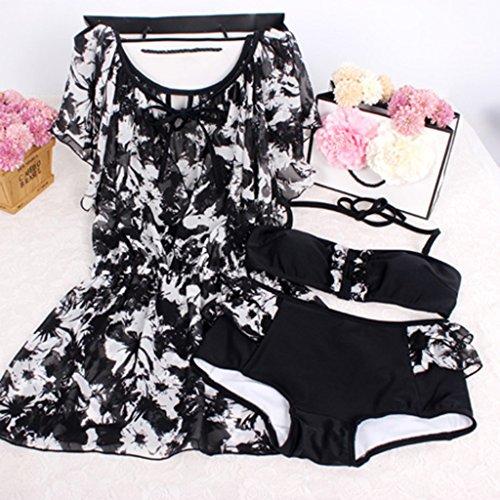 Traje de baño de las mujeres de ángulo pequeño pecho se reúnen para cubrir el vientre era delgado bikini Conservative Hot Spring Swimwear Negro