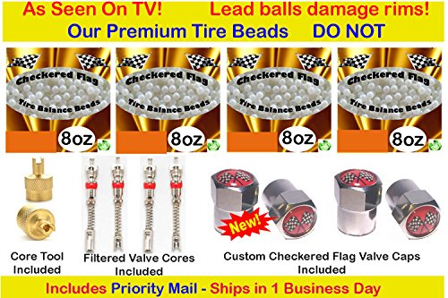 Checkered Flag Tire Beads, no lead and no damage tire beads, 4- 8oz bags of tire balancing beads with filtered valve cores, red caps, 1 gold core tool w/ our - How Is Priority Mail Many Days