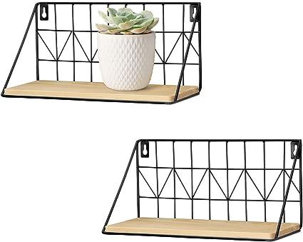 2 Tier Industrial Wall Mount Shelf Metal Wire Rack Loft Dorm Storage Unit Basket