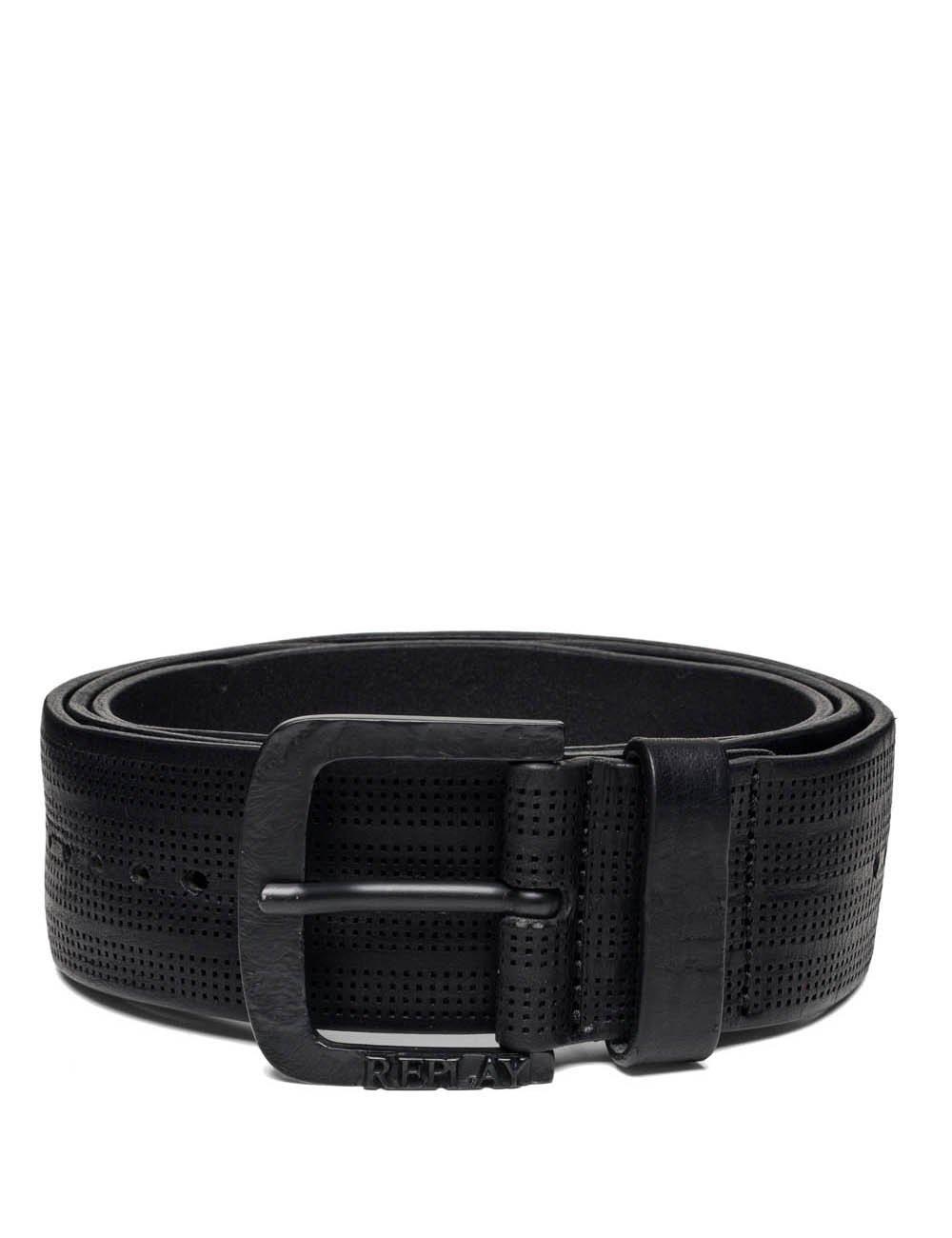 Replay Men's Men's Leather Black Belt in Size 105 Black