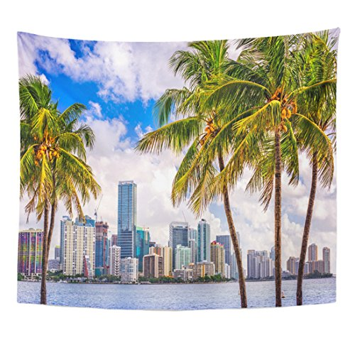 Emvency Tapestry Beach Miami Florida USA Tropical Downtown Skyline City Palm Home Decor Wall Hanging for Living Room Bedroom Dorm 50x60 Inches ()