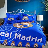 Sport Do Fashion World Cup Designs 3D Version Bedding Sets for Football Fans,Chelsea/Juventus Club/Manchester United/Liverpool/Real Madrid Duvet Cover and Flat Sheet,4Pc,Full