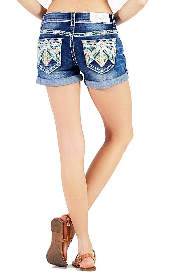 44718ecc Grace in LA Low Rise Neon Aztec Cuffed Denim Stretch Jean Shorts (25) at  Amazon Women's Clothing store: