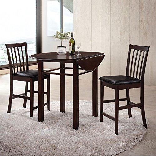 ACME Furniture Artie 72060 3Piece Pack Counter Height Set, Espresso & black Pu
