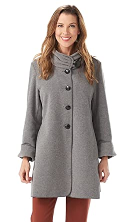 77cae620fe Janska Audrey - Women s Warm Fleece Button-Up Swing Coat with High Collar  and Large