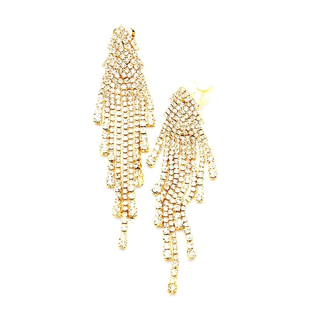 3.75'' long Clear Rhinestone Fringe Chandelier Gold Clip-on Earrings Pageant Drag Queen Show Girl Bridal