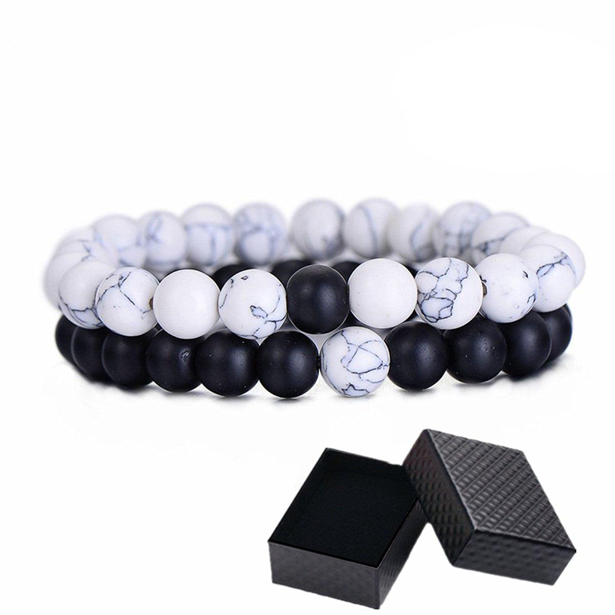Distance Couples Bracelets, His Hers Black Agate Onyx White Howlite Relationship Bracelet for Lover SEALEN Distance Bracelet