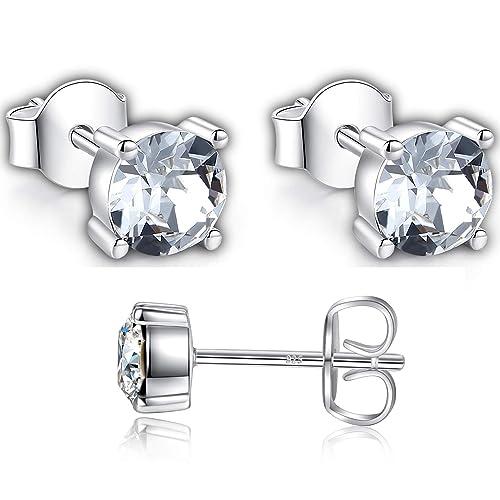 d3c66ba0d GoSparkling Swarovski Stud Earrings for Women - 925 Sterling Silver Crystal  Earrings - Pierced Earrings for