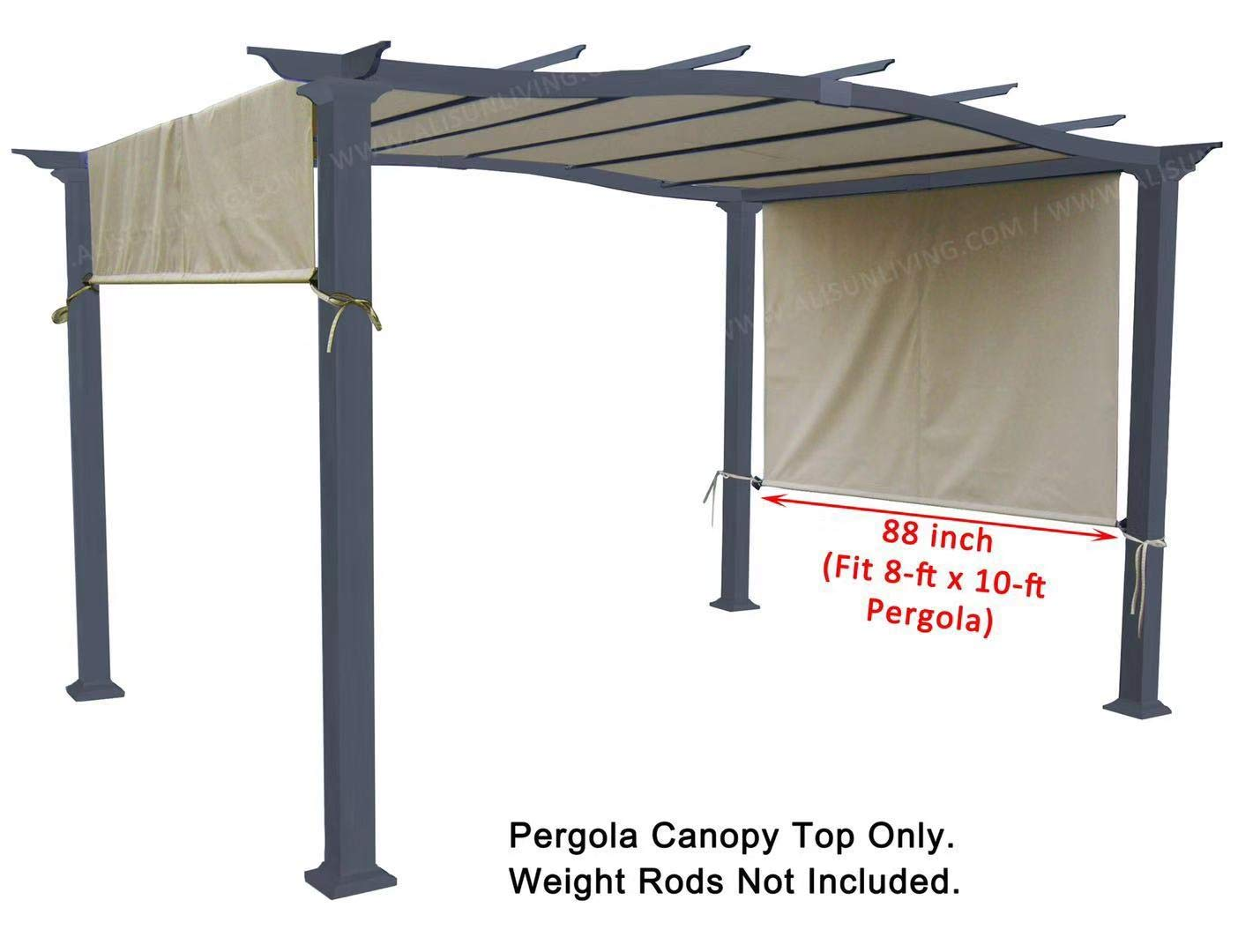 ALISUN Universal Replacement Canopy Top for 8' x 10' Pergola Structure - Beige (Size: 194'' x 88'')