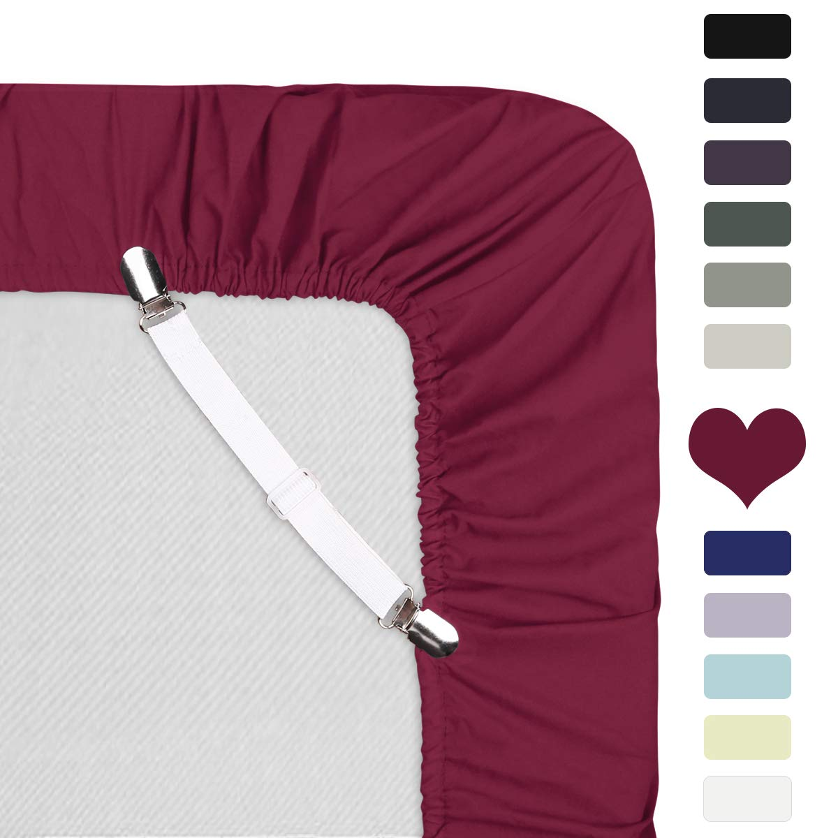 HOMEIDEAS Luxury Fitted Sheet - Double Brushed Microfiber - 16'' Deep Pocket - 105 GSM Ultra Soft, Hypoallergenic 1800 Bedding - Wrinkle & Stain Free(Queen, Burgundy)