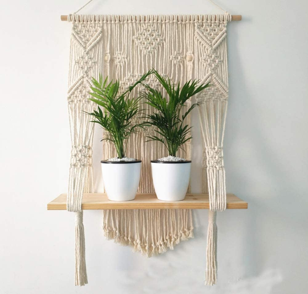 Macrame Plant Hanger Wall Hanging Shelf Boho Rope Plant Pot Holder for Wall Decoration