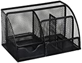 Greenco GRC2548 Mesh Office Supplies Desk Organizer Caddy, 6 Compartments, Black