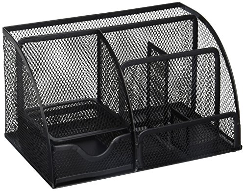 Greenco Mesh Office Supplies Desk Organizer Caddy, 6 Compartments, Black