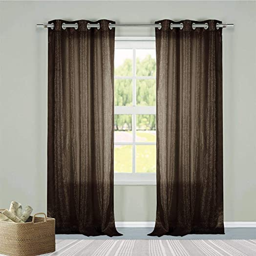 Duck River Textiles – Metallico Faux Linen Metallic Textured Grommet Top Window Curtains for Living Room Bedroom – Assorted Colors – Set of 2 Panels 40 X 84 Inch – Fuchsia