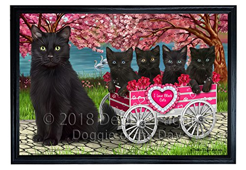 Love Black Cats in a Cart Framed Canvas Print Wall Art
