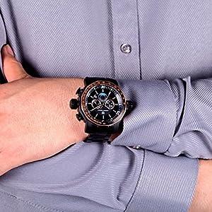 Men's Stainless Steel Big Dial Sport Watch Chronograph Quartz Wristwatch Black by Pagani Design