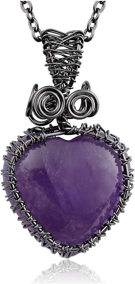 Mini Amethyst Purple /& Sterling Silver Heart Wire Wrap Pendant Necklace Jewelry Amethyst Wire Wrapped Heart Pendant Jewelry