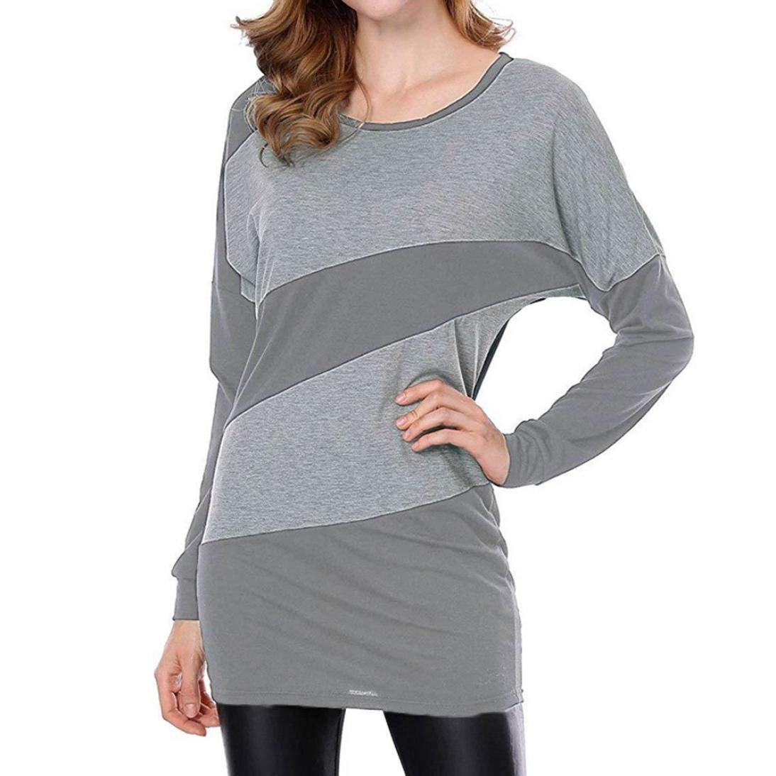 Bestow Contraste de Cuello Redondo para Mujer Oto?o Casual Manga Larga con Paneles largas Camisetas Tops Blusa: Amazon.es: Ropa y accesorios