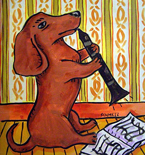 Dachshund playing Clarinet dog art tile coaster gift image 2 ()