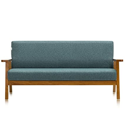 Krei Hejmo Vintage Brown Wooden Low-Seat Armchairs Sofa Couch with Fabric (Three-Seater, Vintage Brown Wood/Mint Gray Fabric)