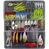 Threemart Fishing Lure Set Including Spoon Lures,Soft Plastic Lures,Popper,Crank,Rattlin,Spinnerbaits and More