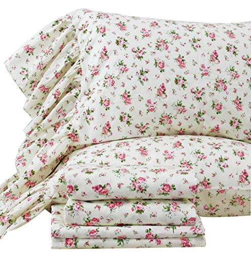 Queen's House 4-Piece Shabby Roses Bed Sheet Set Cotton Sheets Queen Size-Style N