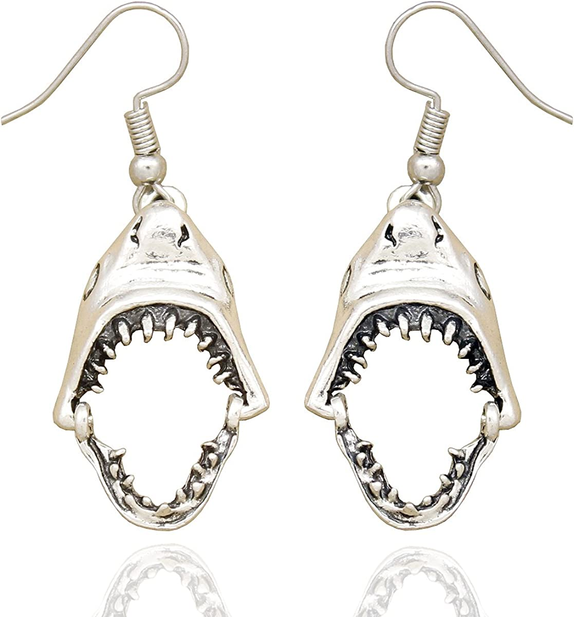 RechicGu Shark Hinged Moveable Tooth Jaws Skull Hell Demon Mouth Dangle Earrings Fancy Dress