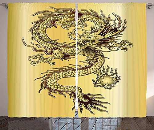 "Dragon Decor Curtains Chinese Snake Dragon Theme Print on Golden Background Eastern Mythology Oriental Abstract Art Living Room Bedroom Decor 2 Panel Set Gold,Size:2 x 54""W By 84""H"