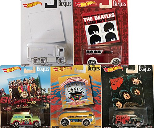Hot Wheels Pop Culture The Beatles, Premium Adult Collectible Diecast Cars, Set of 5 (Value Of Hot Wheels Treasure Hunt Cars)