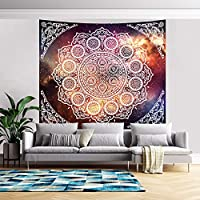 "PASHOP White Mandala Tapestry Hippie Bohemian Tapestry Galaxy Space Tapestry Wall Hanging Psychedelic Tapestry Wall Tapestry for Home Decor (59.1"" x 82.7"")"