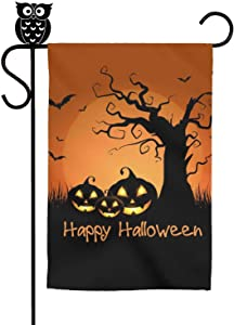 """Naicissism Halloween Garden Flags, Happy Halloween Decoration 12"""" x 18"""" Inch House Flag Scary Night Decorative Pumpkin for Outdoor Home Lawn Yard Flag-Pumpkin"""
