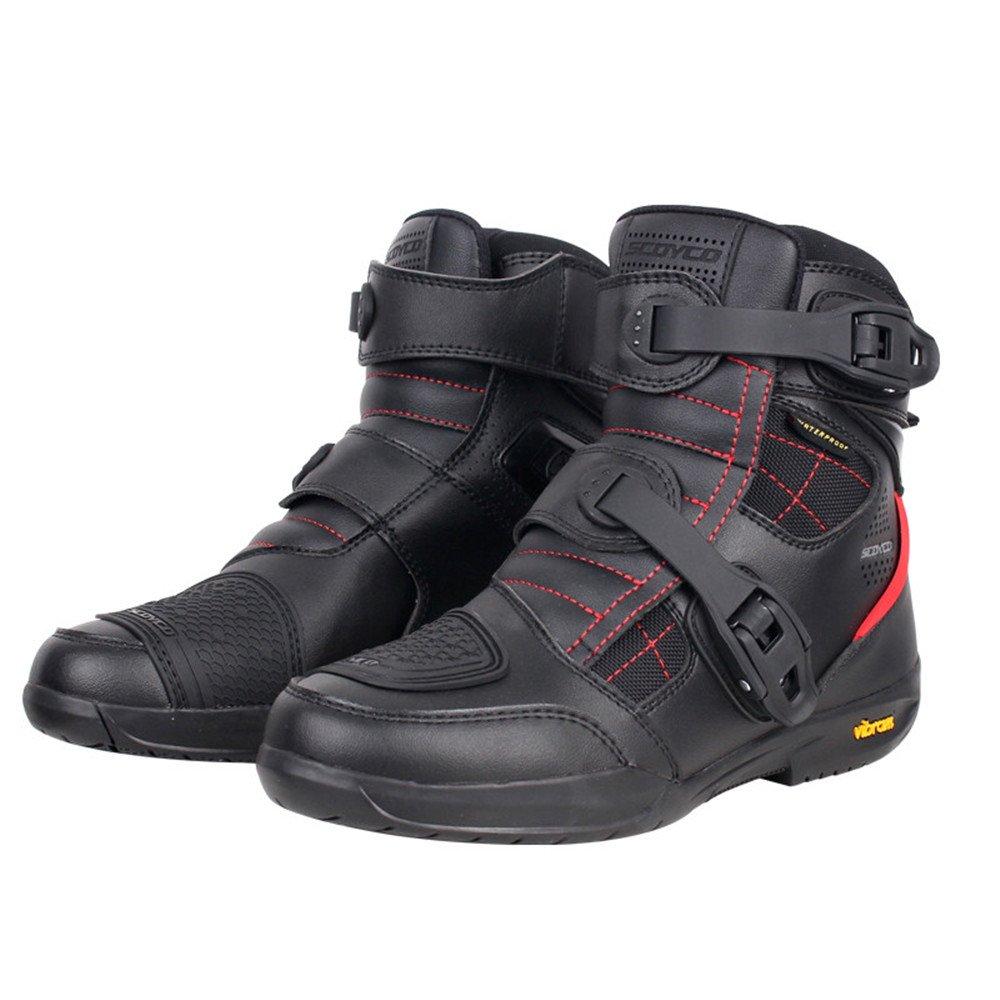 ライディングシューズ ライダーブーツ バイク用ブーツ オートバイ&ショートブーツ メンズ バイク用 レーシングブーツ プロテクトスポーツブーツ 強化防衛性ブラック (28CM) B07DRG83T4  28CM