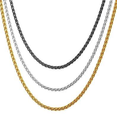 7e0fd2ab0b U7 Black Chain Jewelry Men Women 3mm Black Gun Plated Twisted Rope Chain  Wheat Necklace  Amazon.ca  Jewelry