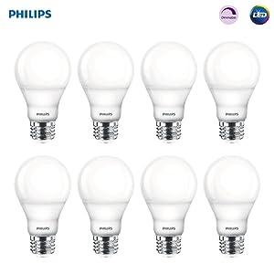 Philips LED Dimmable A19 Frosted Light Bulb: 800-Lumen, 2700-Kelvin, 9.5-Watt (60-Watt Equivalent), E26 Medium Screw Base, Soft White, 8-Pack (Old Generation)