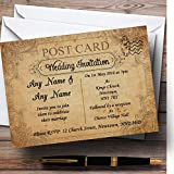 Classic Vintage Shabby Chic Postcard Personalized Evening Reception Invitations