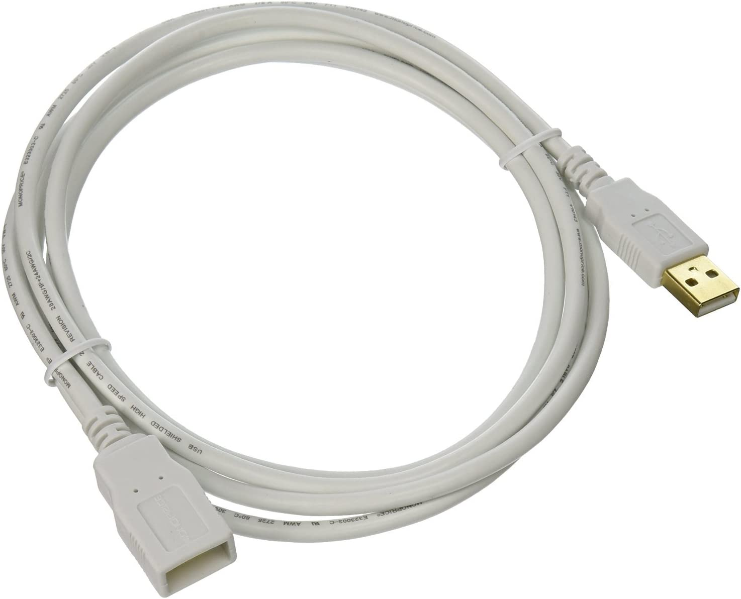 White 6 Feet 4 Pack USB 2.0 A Male to A Female Extension 28//24AWG Cable Gold Plated