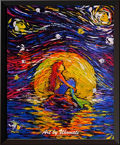Uhomate Vincent Van Gogh Starry Night Posters Ariel Princess The Little Mermaid Inspired Home Canvas Wall Art Anniversary Gifts Baby Gift Nursery Decor Living Room Wall Decor A026 (8X10)