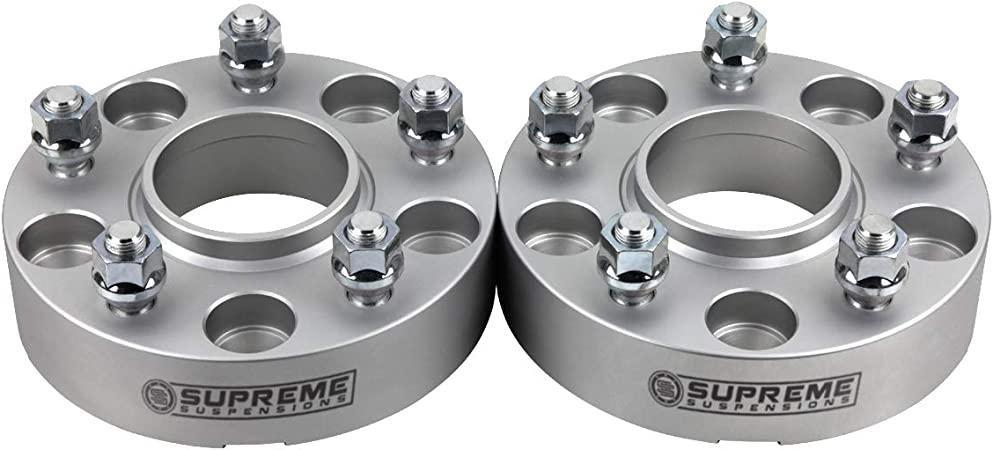 Supreme Suspensions Black 2pc 2 Hub Centric Wheel Spacers for 2004-2014 Ford F150 2WD 4WD 6x135mm BP with M14x2 Studs 87mm Center Bore w//Lip