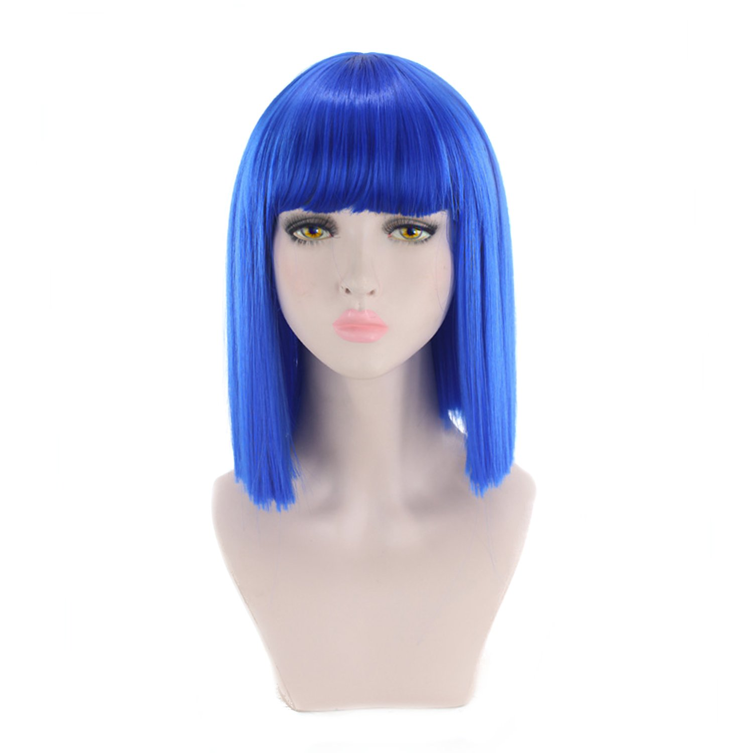 AGPtek Women Short Straight Hair Bob Wigs for Halloween, Music Festival, Theme Parties, Wedding, Concerts, Dating & More (Purple)