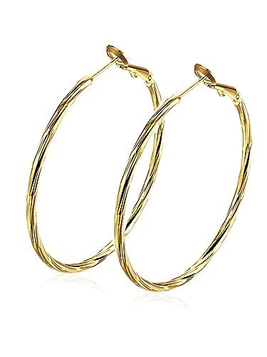 Boucles d oreilles femme créoles avec or jaune plaqué Cadeau de bijoux pour  les filles 8b96eb673687