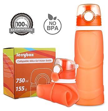 Jerrybox Botella de Agua Reutilizable, libre de BPA, 750ml, Naranja, Flexible y