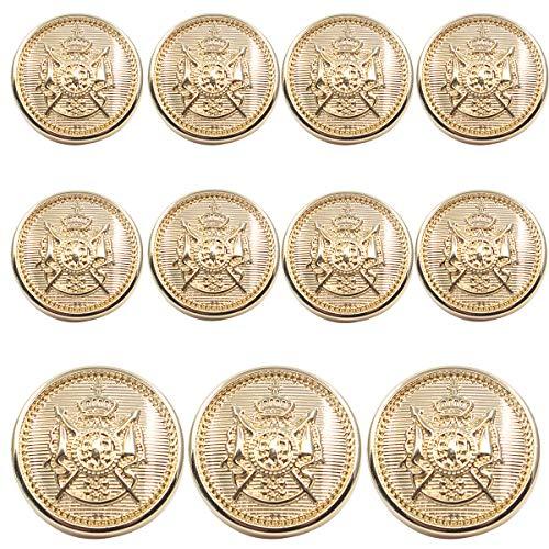 11 Piece Antiqued Gold Metal Blazer Button Set - Crown Lion- for Blazer, Suits, Sport Coat, Uniform, Jacket