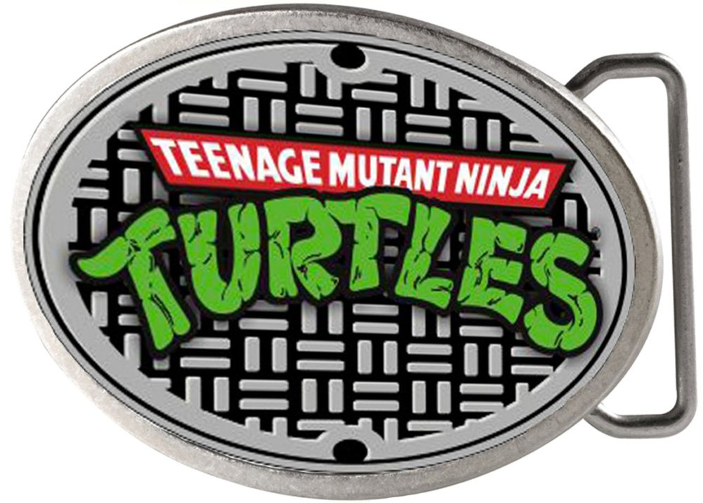 TMNT Cartoon TV Series Sewer Plate Logo Rockstar Belt Buckle Buckle Down