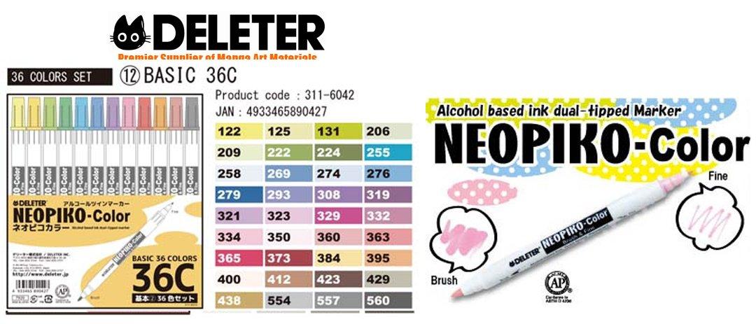 Deleter Neopiko-Color 36C Set C Marker Pens for Manga Comic Illustrators Alcohol Based Dual Tip