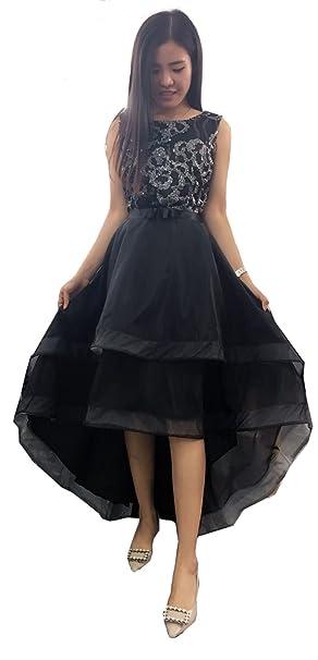 Aimerfeel Elegante tamaño Largo Delantero Corto de Lentejuelas Negro de Flores Vestido de Noche Vestido de Fiesta L-38: Amazon.es: Ropa y accesorios