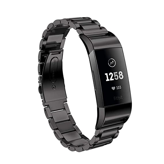 EloBeth Compatible with Fitbit Charge 3 Bands & Charge 3 SE Stainless Steel  Metal Wristbands Women (Black)