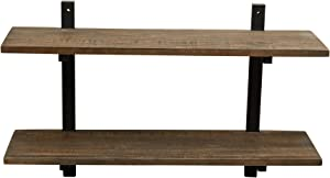 "Alaterre Furniture Sonoma 36"" Wide Metal and Solid Wood Wall Shelf, Brown"