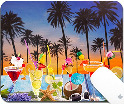 Luxlady Gaming Mousepad 9.25in X 7.25in IMAGE: 19616248 Colorful many tropical Cocktails in tropical blue wood Palm tree sunset with coconut mojito pepermint margarita (Margarita Lemon Juice)
