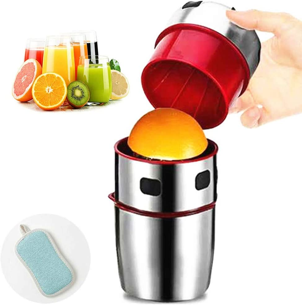 Lemons Citrus Orange Juicer Manual Hand Squeezer, Portable Stainless Steel Hand Lid Rotation Grapefruit Squeezer, Hand-held Lid Rotation Squeezer for Lemons Oranges Tangerines and Other Fruits.
